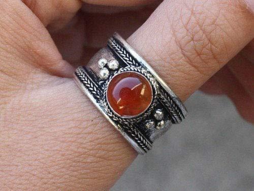 Ring Agate Round (Large Adjustable Tibetan Round Orange Red Agate Gemstone Dotted Amulet Ring)