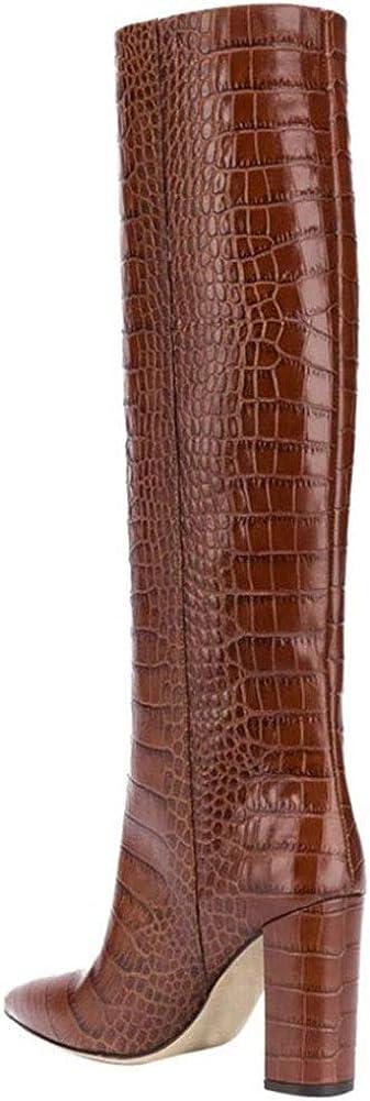 Bfg Boots Femmes cuissardes en cuir Pointu grain de bois épais talon haut non-Slip confortable Automne Hiver Martin Bottes Brown