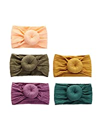 Baby Girl Headbands for Newborn Infant Toddler Girls,Stretchy Patterned Nylon Headwraps Round Knot Turban Child Hair Accessories,5 Pack