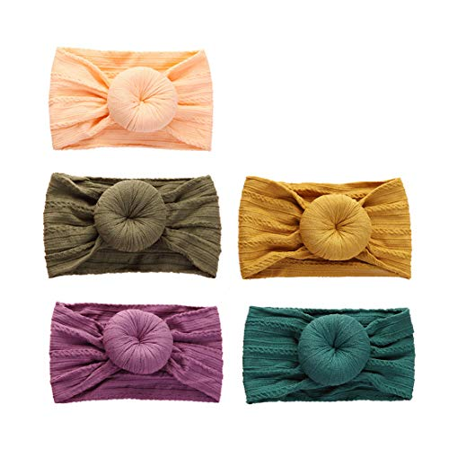 Baby Girl Nylon Headbands Newborn Infant Toddler Hair Bows Turban Knotted Headwraps Child Hair Accessories,5 Pack