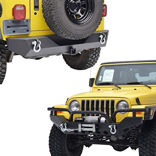 E-Autogrilles Black Textured Jeep Wrangler YJ TJ Off Road Front and Rear Bumper Combo