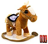 Toysery Kids Walking Pony Walk Along Toy Stuffed Plush Pony Toy, Realistic Walking Actions with Horse Sounds and Music (Battery Operated) Colors May Vary