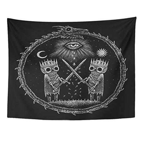 Emvency Tapestry Mandala 60x80 inch Home Decor War of Kings Two Skeleton Warring Sword Against The God's Eye On Ancient Dragon for Bedroom Living Room Dorm