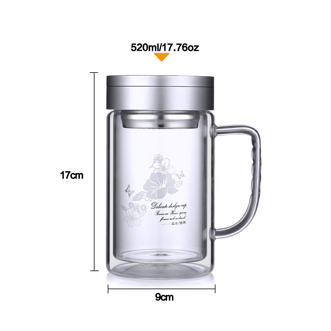 ONEISALL Office Tea Tumbler Tea Tumbler Glass Tea Cup with Stainless Steel Infuser Lucency Double Wall Glass Travel Mug