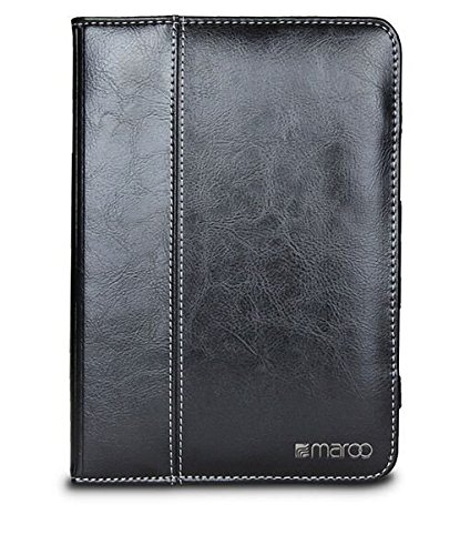 Maroo iPad Mini 4 Case - Black Leather Exterior and Soft Non-Scratch Interior, Ultimate Protection with SG Bumper Technology, Foldable Front Cover for Typing and Viewing Mode, Stylus Holder