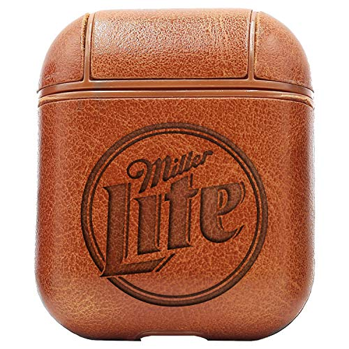 (Logo Miller LITE (Vintage Brown) Engraved Air Pods Protective Leather Case Cover - a New Class of Luxury to Your AirPods - Premium PU Leather and Handmade exquisitely by Master Craftsmen)