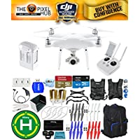 DJI Phantom 4 Advanced Drone MEGA Ready To Fly EXTREME ACCESSORY BUNDLE With 1 Battery (Total), Vest Strap, Extra Props, Landing Pad, Filter Kit Plus Much More (Black/Blue Backpack)