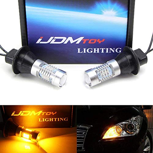 - iJDMTOY (2) No Resistor Need Amber Yellow 21-SMD 7440 T20 LED Bulbs For Front or Rear Turn Signal Lights (No Hyper Flash)