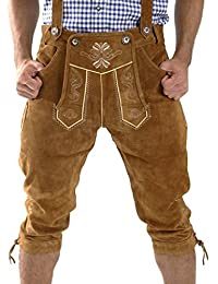 MENS KNEE BREECHES GERMAN BAVARIAN LEDERHOSEN OKTOBERFEST LIGHT BROWN LEDERHOSEN