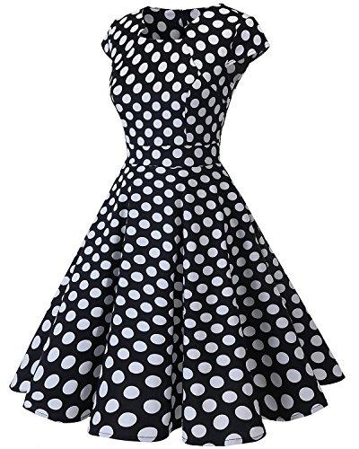Annes Black White Femme Crmonie Homrain Vintage Soire Hepburn Cocktail de Style 1950s Big Robe Dot Audrey T7g0wqB