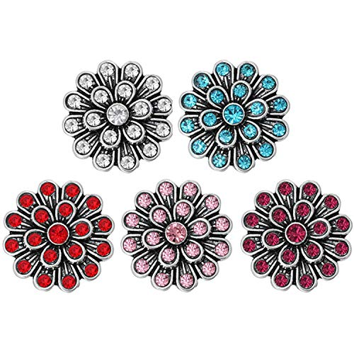 10 Pcs/Lot Mixed Pink Rhinestone Flower Styles Metal Charms 18mm 20mm Snap Button Jewelry for Snaps Bracelet DIY Snap Jewelry,C11