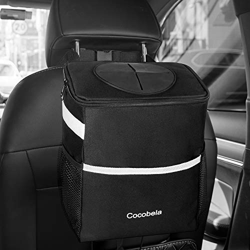 - COCOBELA Car Trash Can with Lid, Waterproof Car Trash Bag Hanging for Headrest with Adjustable Strap, Collapsible Portable with 3 Storage Pockets, Multipurpose Auto Car Garbage Bin