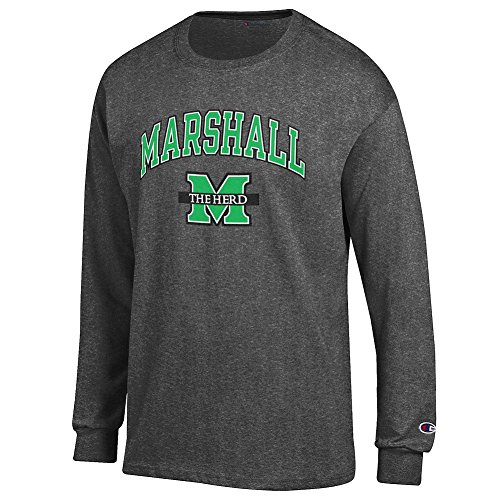 Marshall University - Elite Fan Shop Marshall Thundering Herd Long Sleeve Tshirt Arch Charcoal - XL