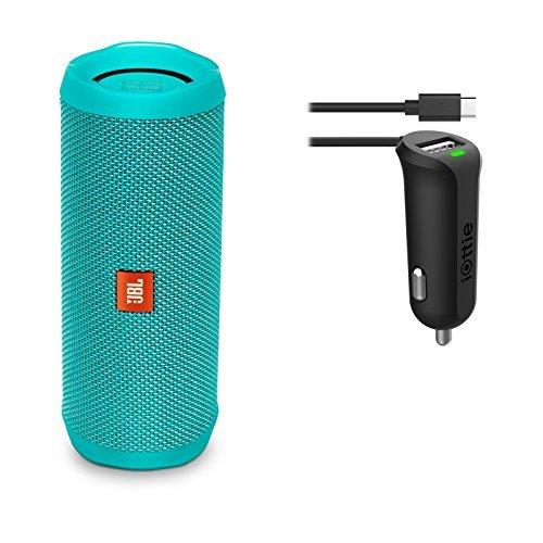 JBL Flip 4 Waterproof Portable Bluetooth Speaker (Teal) & Car Charger Bundle
