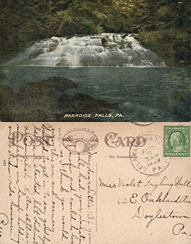 (PARADISE FALLS PA 1909 ANTIQUE POSTCARD )