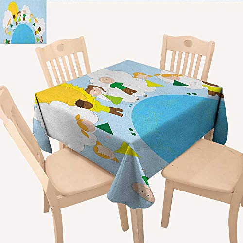 - longbuyer World Wrinkle Free Tablecloths Smiling Kids Over Planet Drawing All Children of The World Happy Friendship Peace Waterproof Table Cloth Multicolor W 36