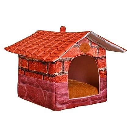 JEELINBORE Vintage Plegable Portátil Cama de Mascota Iglú Casa para Perros y Gatos (S: