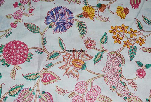 (5 Yard Cotton Floral Print Cotton Fabric by Yard, Natural Dyes Sanganeri Indian Cotton Fabric Hand Block Printed Handmade Cotton Fabric )