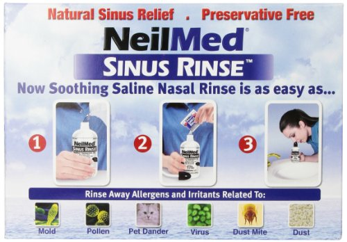 NeilMed Sinus Rinse - 2 squeeze Bottles 240mL (8fl oz) & Nasamist Saline Spray 75mL - 250 Premixed Packets - BONUS Nasa Mist Saline Spray - Value Pack