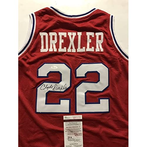 1d6c8a22a Signed Clyde Drexler Jersey - Cougars Red COA - JSA Certified - Autographed  NBA Jerseys best