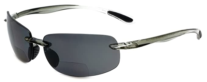 af8ec415fd4 Grand Banks 471BF Polarized Bi-Focal Rimless Reading Sunglasses in Charcoal  +1.50