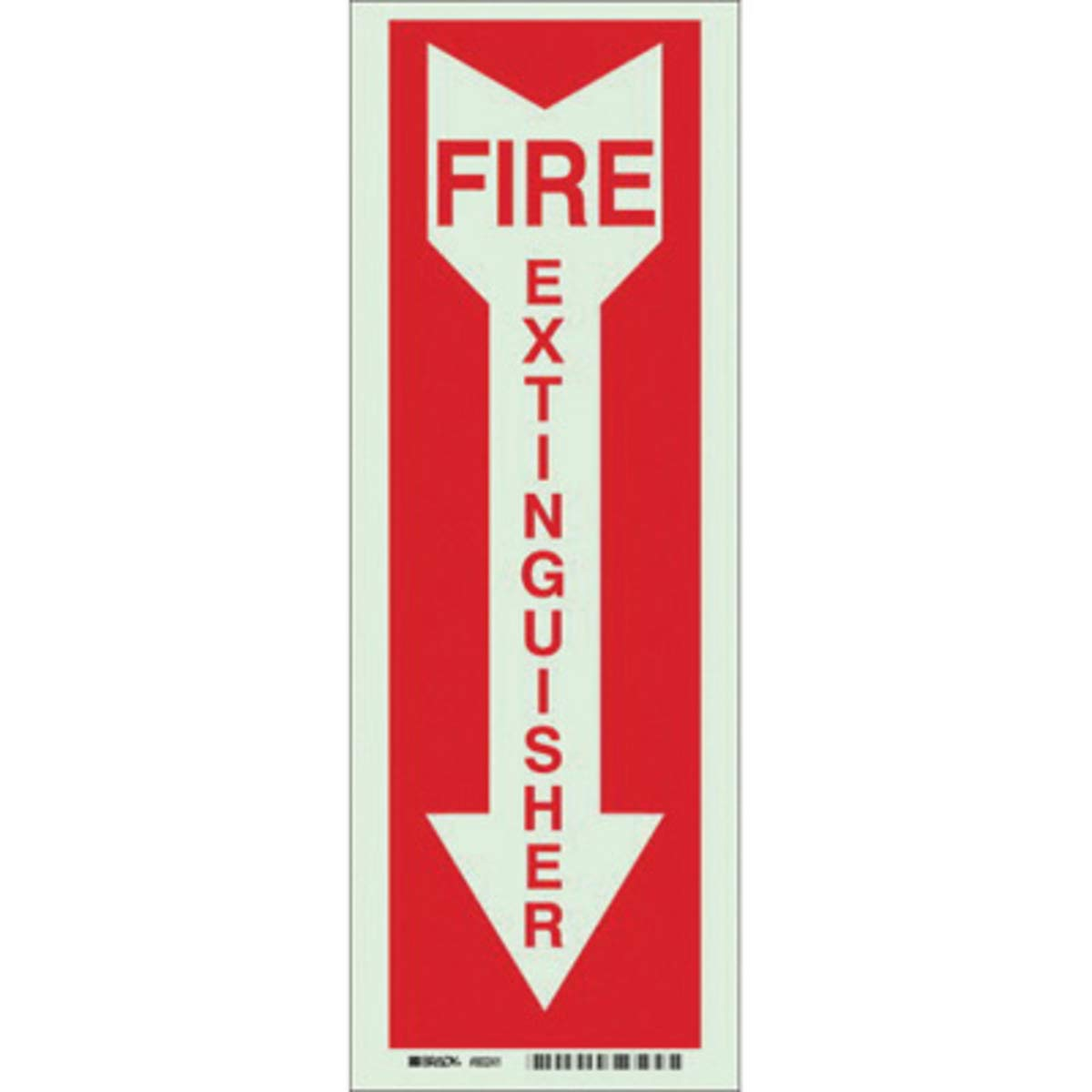 Brady 14'' X 5'' X .008'' Red On Glow .0079'' B-324 Polyester Fire And Exit Sign''Fire Extinguisher''