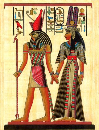 Egyptian Hand-Made Papyrus Painting - Horus and ()