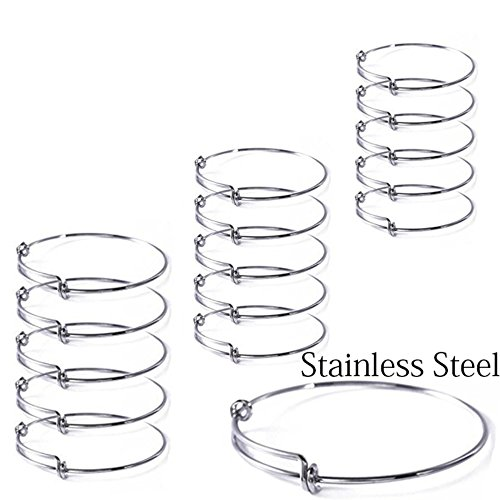 15 Pcs Stainless Steel Expandable Wire Blank Bangle Bracelet for Womens DIY Jewelry Making by Yumei Jewelry
