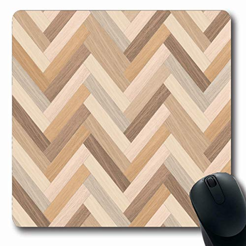 LifeCO Computer Mousepads Massive Beige Abstract Herringbone Natural Parquet Floor Wooden Fragment Chevron Brown Arrow Ash Oblong Shape 7.9 x 9.5 Inches Oblong Gaming Mouse Pad Non-Slip Rubber ()