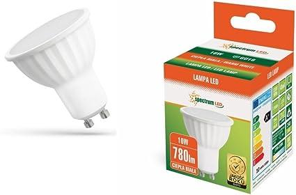 SPECTRUM - Foco LED, GU10, 10 W (equivalente a bombilla halógena de 75 W), 2700-3200 K, gran ángulo de haz (120 grados), 680 lúmenes, ecológica y con ahorro energético, color blanco cálido: Amazon.es: Iluminación