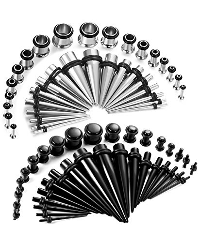 Thunaraz 72Pcs Stretchers Kit Acrylic Tapers 14G-00G Stainless Steel Gauges Set Black Tone