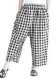 Romacci Woman Loose Plaid Wide Leg Pants Elastic Waist Pockets Casual Straight Trousers Red/Black