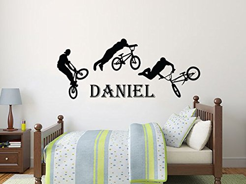Name Decal Vinyl Wall Decals Sticker Custom Personalized Boys Name Decor BMX Freestyle Jumping Bike Kids Teens Boys Room Nursery Art ZX134 - Freestyle Wall