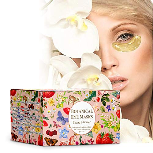 (30 Pairs) Botanical 24K Gold Eye Masks | 24 Karat Gold, Green Tea, Butcher's Broom, Hyaluronic Acid, Collagen | Anti-Aging & Moisturizing; Reduces Dark Circles, Undereye Puffiness, Wrinkles