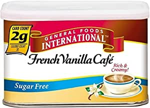 General Foods International Coffee, Sugar Free, Fat Free French Vanilla Cafe Coffee Drink Mix, 4.4-Ounce Tins (Pack of 12)