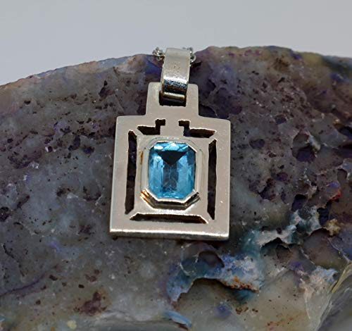 Valentine Sale 9% Off - Sterling Silver Handmade Square Pendant with Genuine Blue Topaz Gemstone - Anniversary, Party or Birthday gift for Wife/husband for Girlfriend/boyfriend for Sister/brother]()