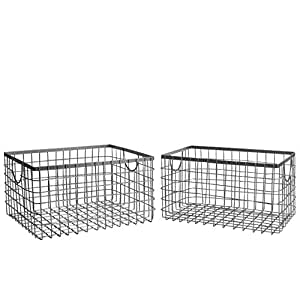SLPR Wire Storage Shelf Basket (Set of 2, Industrial Grey) | Organizer for Laundry Pantry Freezer Cabinet Bathroom