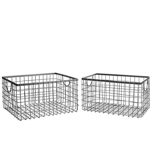 SLPR Wire Storage Shelf Basket (Set of 2, Industrial Grey) | Organizer Storage Container for Laundry Pantry Freezer Cabinet
