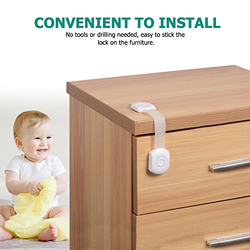 Carebaby CHILD LOCKS-(6-PACK) Multi-Purpose Baby Proof & Child Safety Lock   No Tools or Drilling Required   Super Strong 3M Adhesive Cabinet Lock by Carebaby (Image #1)