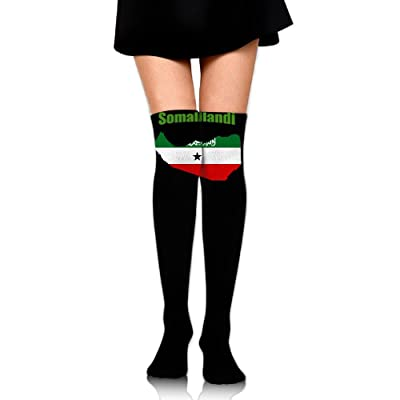 WRE8577 Women's Knee High Compression Thigh High Socks Somaliland Flag Map For Softball Sport Long Stockings