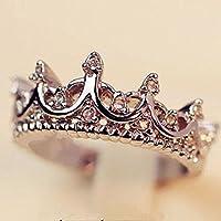 Aisamaisara Fashion Princess Women Silver Rhinestone Crown Ring Size 6 7 8 9 10 New (8)