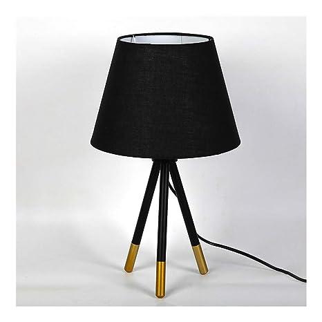 Lámpara de Mesa Lámpara de mesilla Pantalla de Tela Negra ...