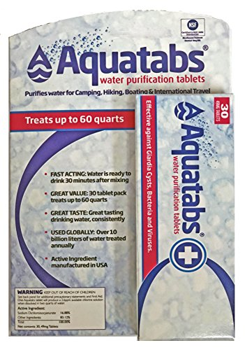 MSR Aquatabs Water Purification Tablets for Camping and Emergency Preparedness, 30-Pack ()