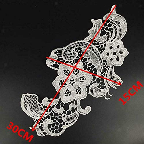 Fashion Embroidered Floral Lace NeckCollar Trim Clothes Sewing Applique Patch   Color - Style - Kevlar Invisible Thread
