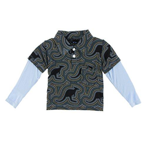 (KicKee Pants Little Boys Print Long Sleeve Double Layer Polo, Midnight Kangaroo, 2T)