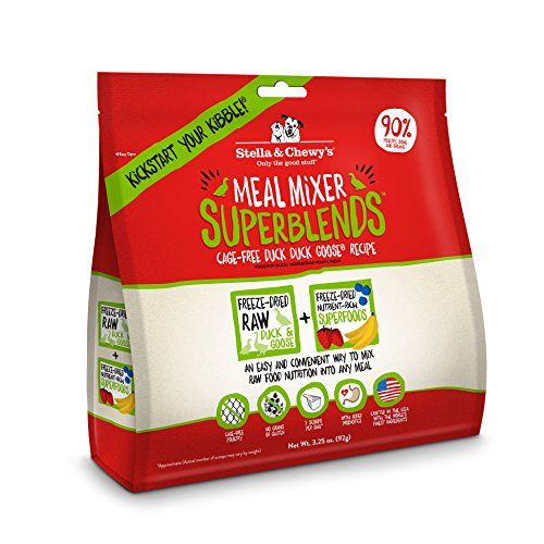 Stella & Chewy's Freeze-Dried Raw Cage-Free Duck Meal Mixer SuperBlends Grain-Free Dog Food Topper, 3.25 oz. bag