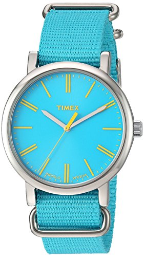(Timex Women's 'Weekender' Quartz Brass and Nylon Watch, Color:Turquoise (Model: T2P363))