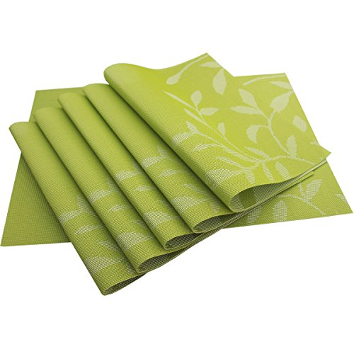 Bright Dream Placemat Washable Plastic Placemats Wipe Clean for Kitchen Table Heat-resistand Woven Vinyl Placemats for Dining Mats Set of 6(Green)