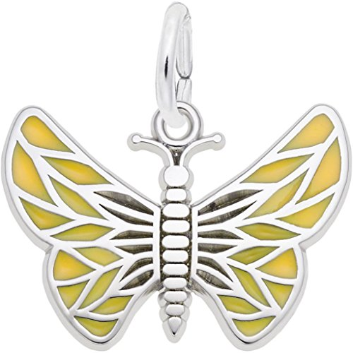 - Rembrandt Painted Wings Butterfly Charm w/Tan Enamel - Metal - Sterling Silver