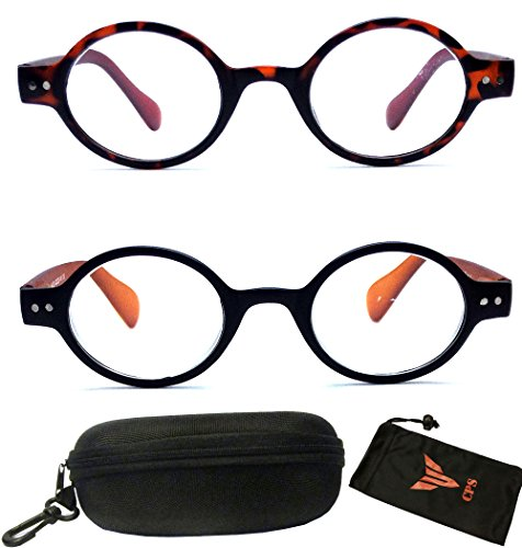 (#XK8598 Blk Brw) 2 PAIRS Unisex Men's Women's Retro Round Oval Plastic Reading Glasses with Black or Brown Color Frame Free Accessory ( Strength +2.50 - Sunglasses Brown Or Black